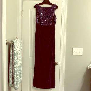 Navy blue evening gown by Ralph Lauren